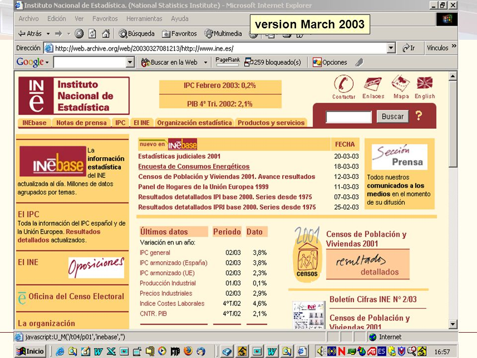 Disseminating statistics: Internet and Publications Madrid, 3-5 March 2008 44 version March 2003