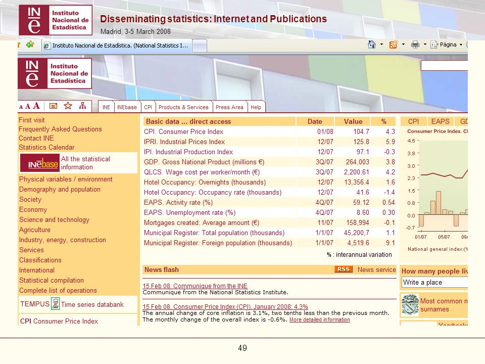 Disseminating statistics: Internet and Publications Madrid, 3-5 March 2008 49