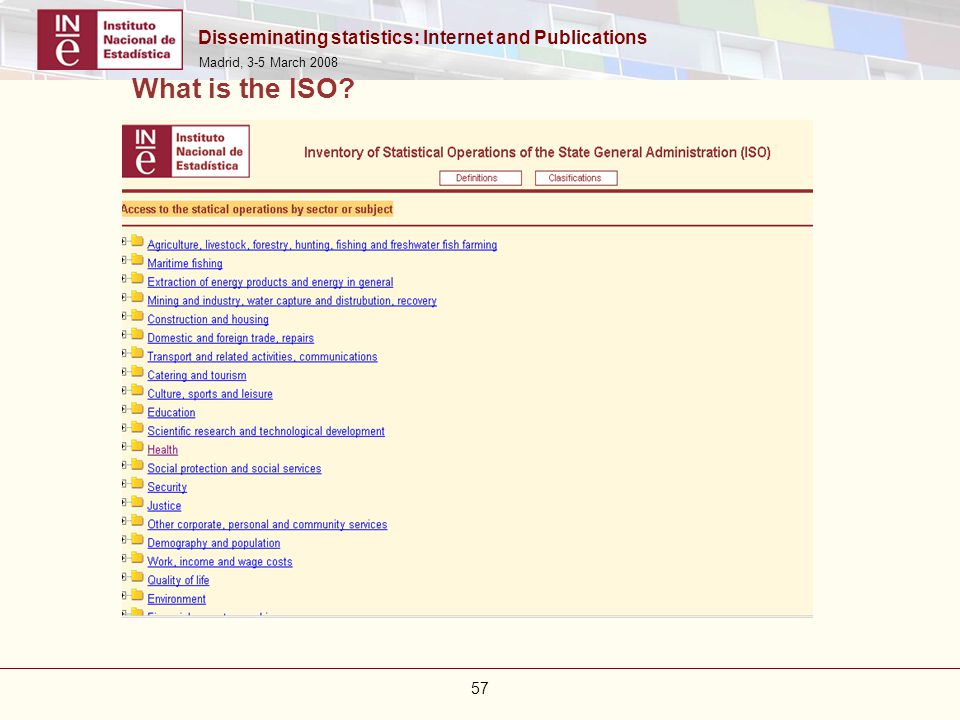 Disseminating statistics: Internet and Publications Madrid, 3-5 March 2008 57 What is the ISO?
