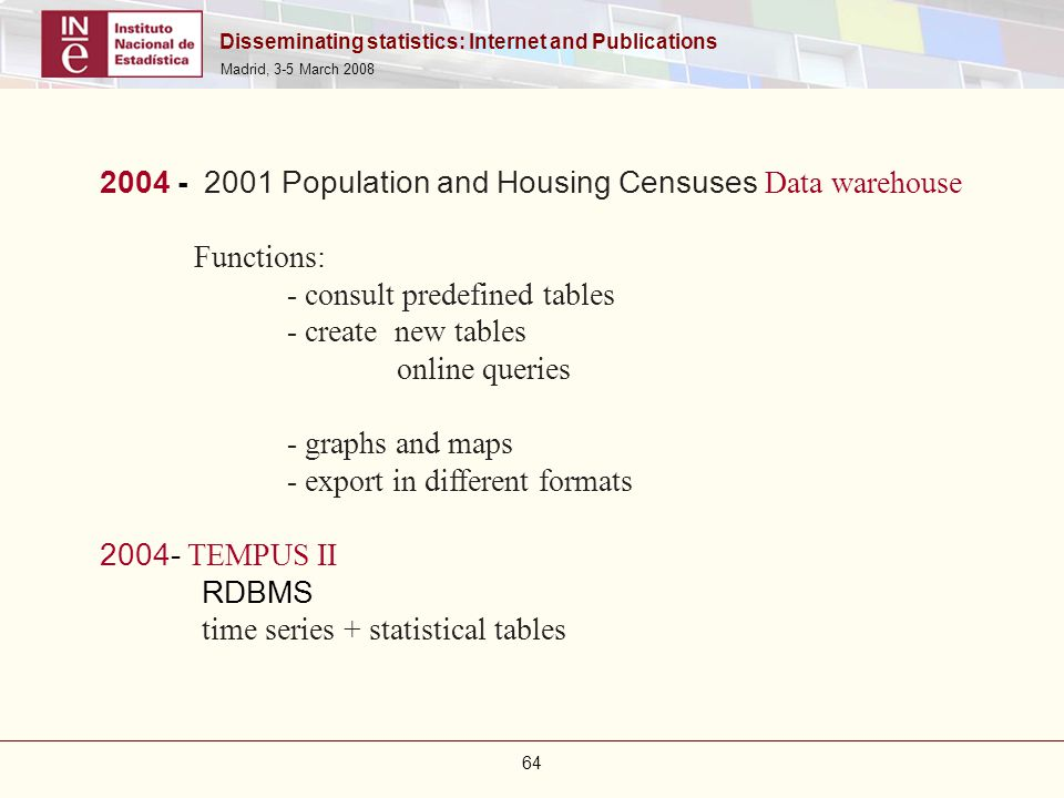 Disseminating statistics: Internet and Publications Madrid, 3-5 March 2008 64 2004 - 2001 Population and Housing Censuses Data warehouse Functions: -