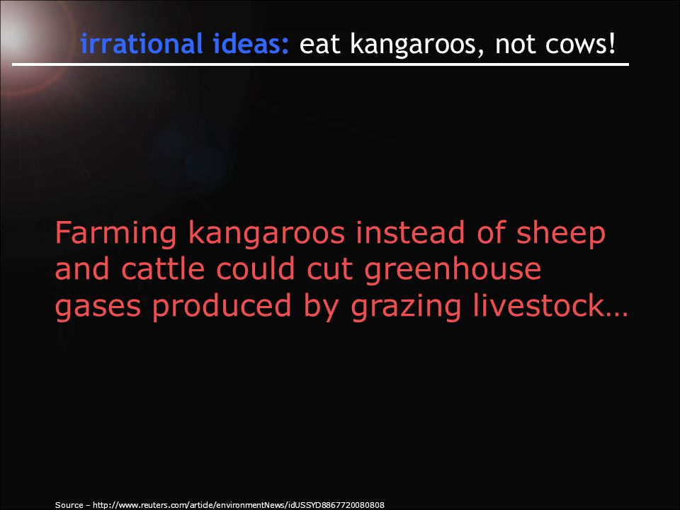 irrational ideas: eat kangaroos, not cows.