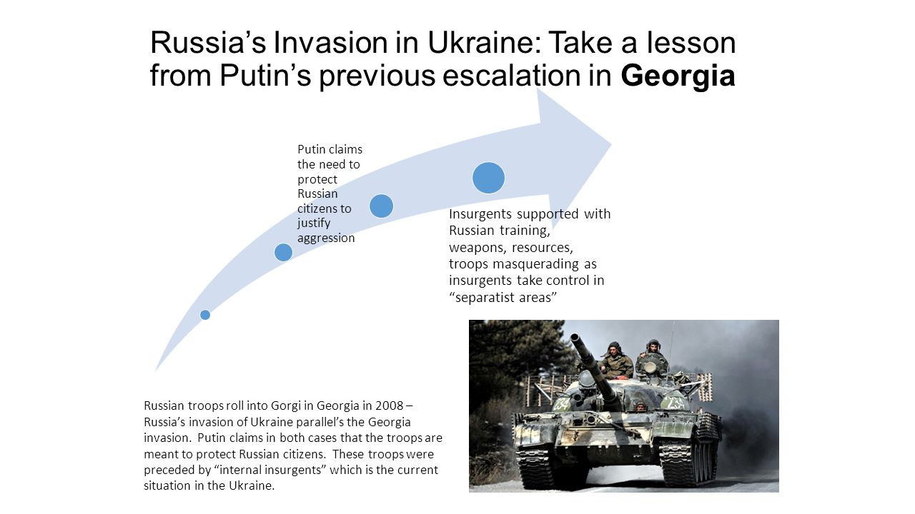 Russia's Invasion in Ukraine: Take a lesson from Putin's previous escalation in Georgia Russian troops roll into Gorgi in Georgia in 2008 – Russia's invasion of Ukraine parallel's the Georgia invasion.