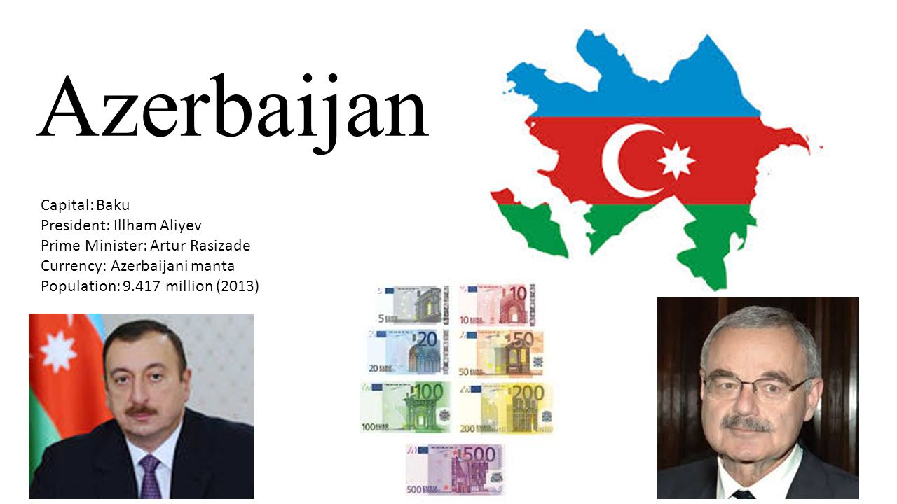 Azerbaijan Capital: Baku President: Illham Aliyev Prime Minister: Artur Rasizade Currency: Azerbaijani manta Population: 9.417 million (2013)