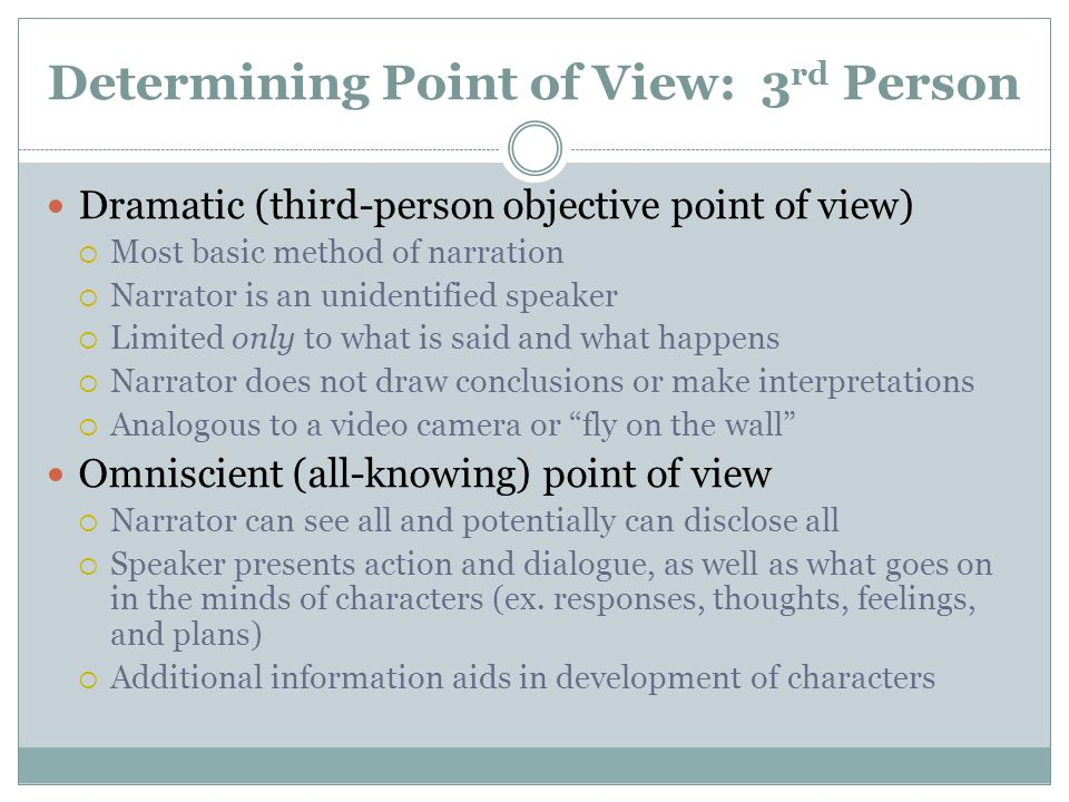 Organizing Your Essay on POV Introduction  Begin by briefly stating the major influence of the point of view on the work  E.g.