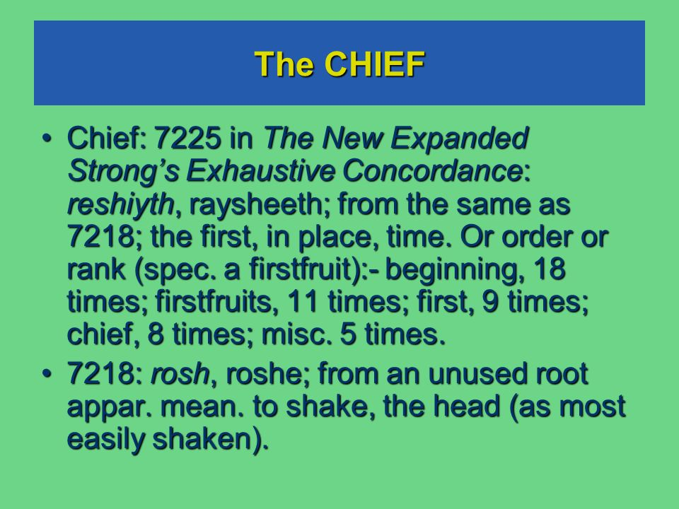 The CHIEF Chief: 7225 in The New Expanded Strong's Exhaustive Concordance: reshiyth, raysheeth; from the same as 7218; the first, in place, time.