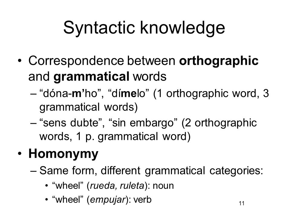 Syntactic knowledge Correspondence between orthographic and grammatical words – dóna-m'ho , dímelo (1 orthographic word, 3 grammatical words) – sens dubte , sin embargo (2 orthographic words, 1 p.