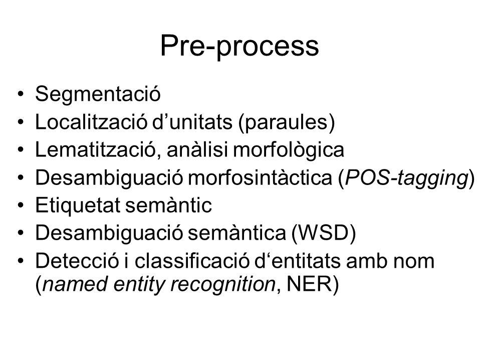 Pre-process Segmentació Localització d'unitats (paraules) Lematització, anàlisi morfològica Desambiguació morfosintàctica (POS-tagging) Etiquetat semàntic Desambiguació semàntica (WSD) Detecció i classificació d'entitats amb nom (named entity recognition, NER)