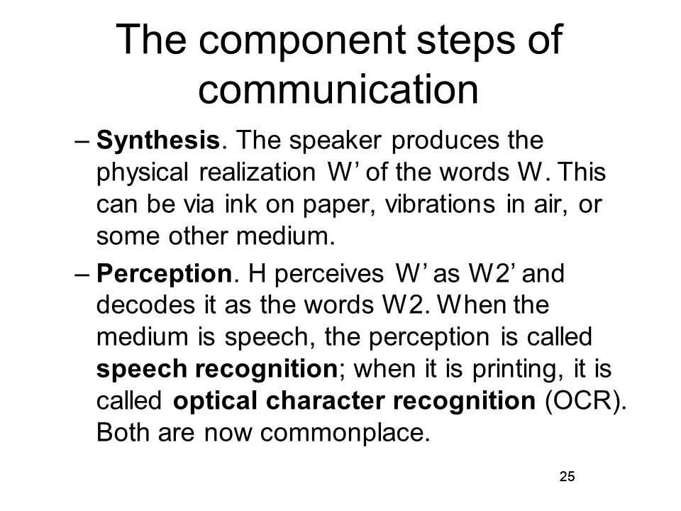 25 The component steps of communication –Synthesis.
