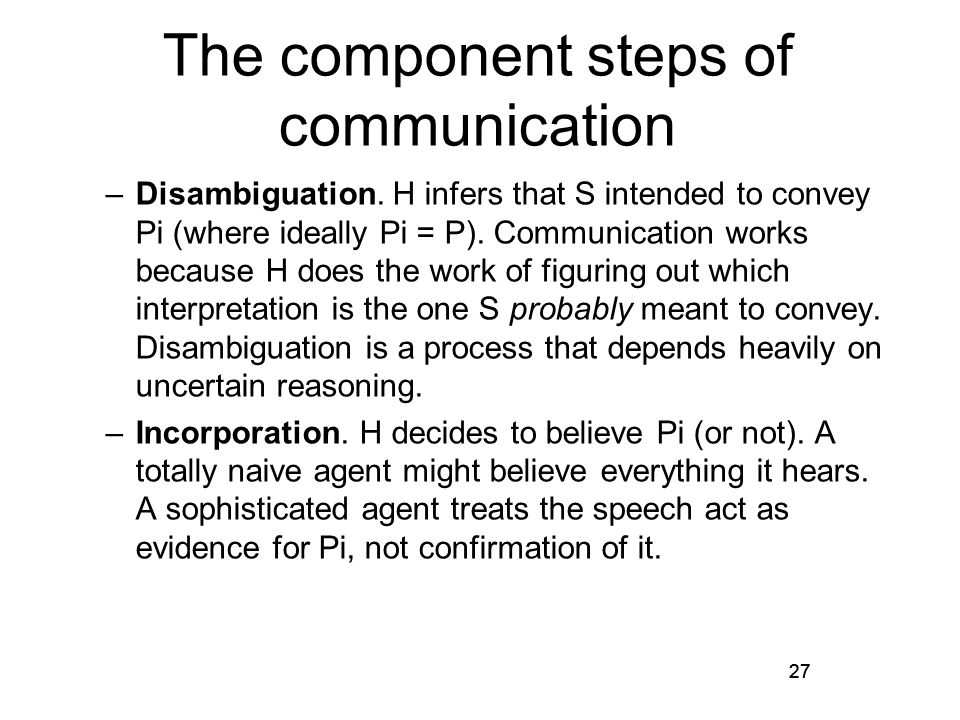 27 The component steps of communication –Disambiguation.