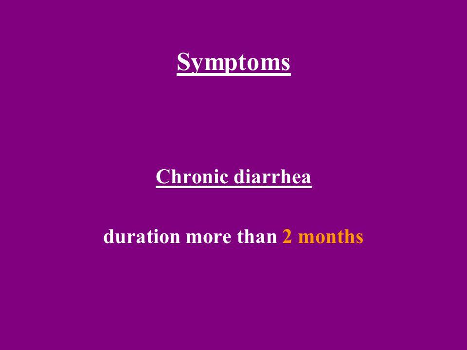 Symptoms Chronic diarrhea duration more than 2 months