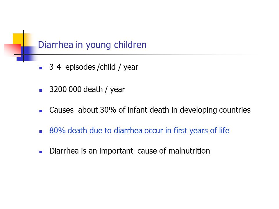 Diarrhea in young children 3-4 episodes /child / year 3200 000 death / year Causes about 30% of infant death in developing countries 80% death due to diarrhea occur in first years of life Diarrhea is an important cause of malnutrition