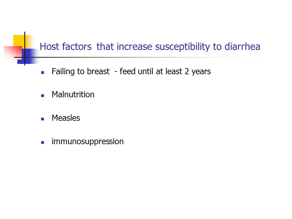 Host factors that increase susceptibility to diarrhea Failing to breast - feed until at least 2 years Malnutrition Measles immunosuppression