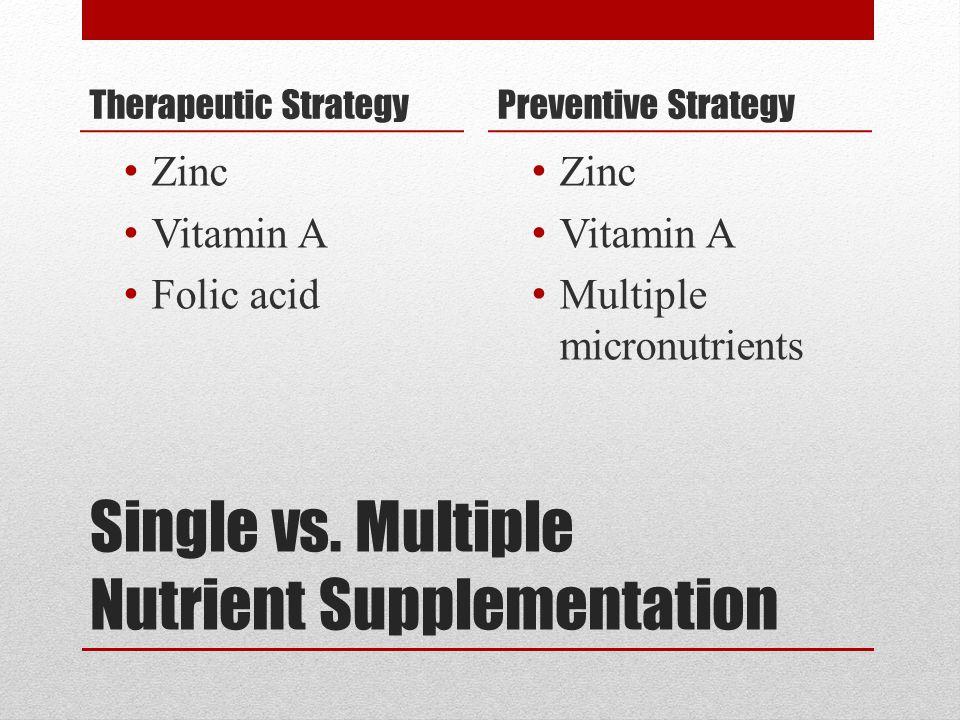Single vs. Multiple Nutrient Supplementation Therapeutic Strategy Zinc Vitamin A Folic acid Preventive Strategy Zinc Vitamin A Multiple micronutrients
