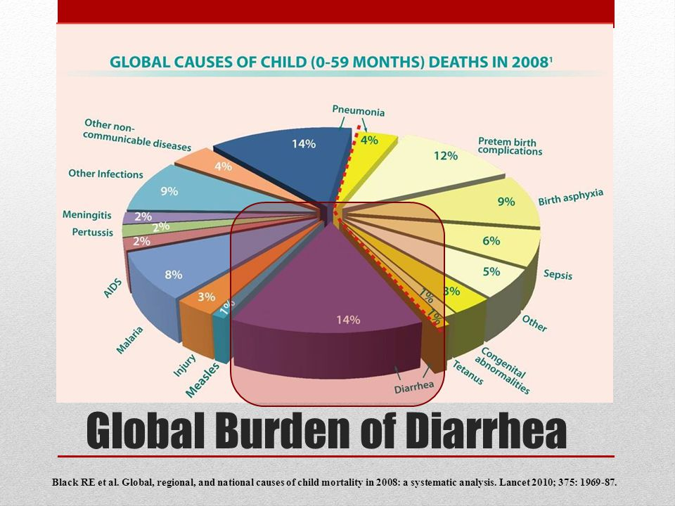 Global Burden of Diarrhea Black RE et al. Global, regional, and national causes of child mortality in 2008: a systematic analysis. Lancet 2010; 375: 1
