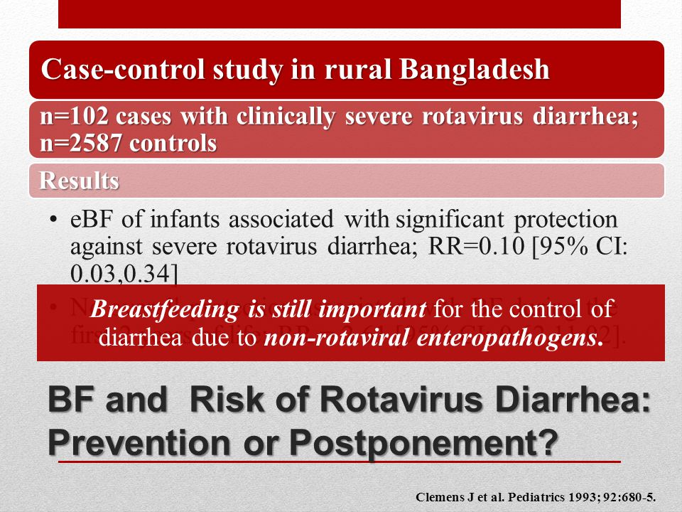 BF and Risk of Rotavirus Diarrhea: Prevention or Postponement.