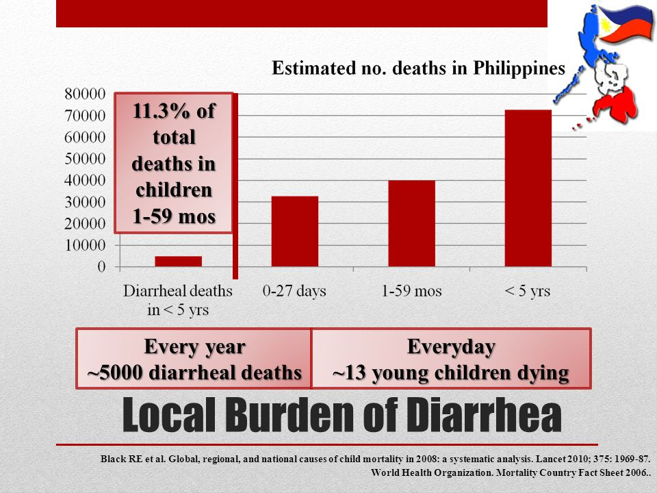 Local Burden of Diarrhea Black RE et al. Global, regional, and national causes of child mortality in 2008: a systematic analysis. Lancet 2010; 375: 19