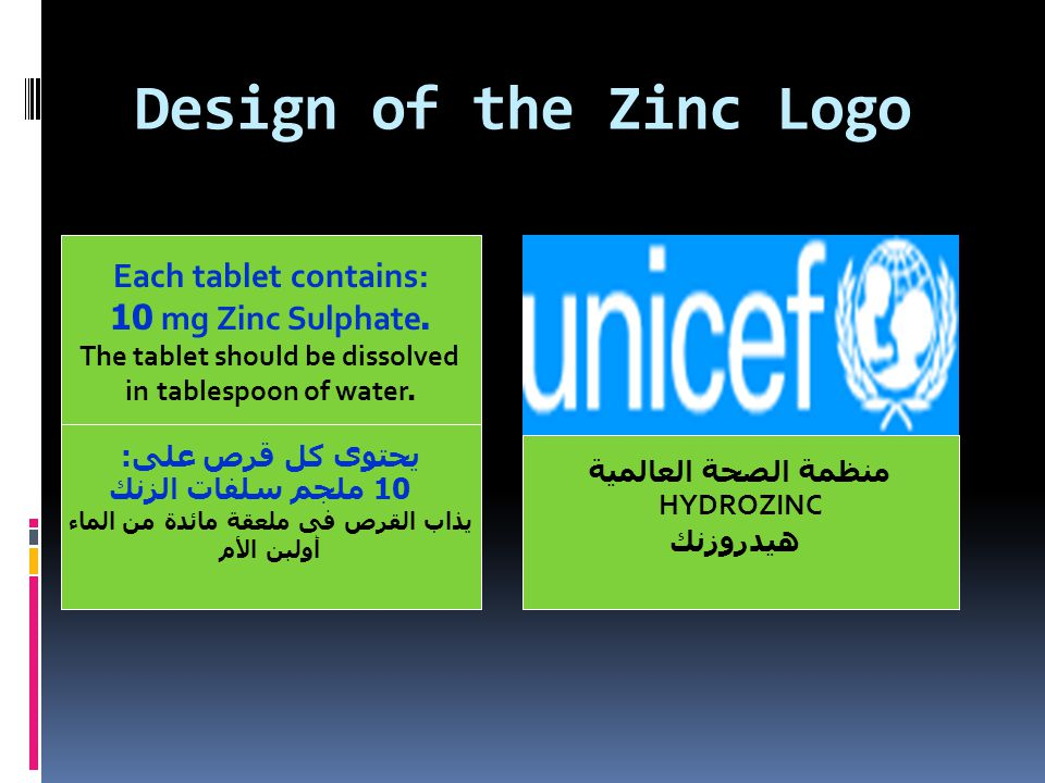 Design of the Zinc Logo منظمة الصحة العالمية HYDROZINC هيدروزنك Each tablet contains: 10 mg Zinc Sulphate.