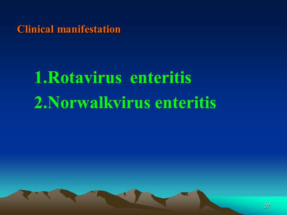 27 Clinical manifestation 1.Rotavirus enteritis 2.Norwalkvirus enteritis