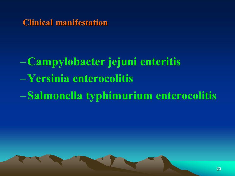 29 Clinical manifestation –Campylobacter jejuni enteritis –Yersinia enterocolitis –Salmonella typhimurium enterocolitis
