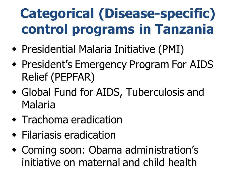 Categorical (Disease-specific) control programs in Tanzania  Presidential Malaria Initiative (PMI)  President's Emergency Program For AIDS Relief (P