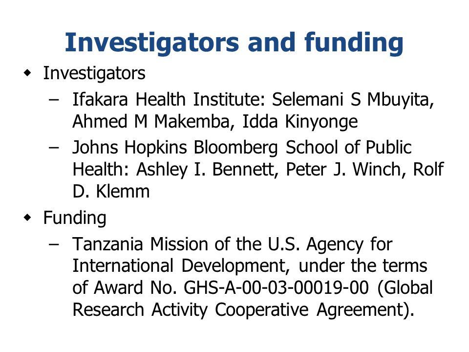 Investigators and funding  Investigators –Ifakara Health Institute: Selemani S Mbuyita, Ahmed M Makemba, Idda Kinyonge –Johns Hopkins Bloomberg Schoo