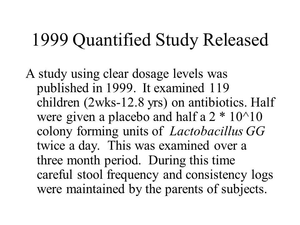 1999 Quantified Study Released A study using clear dosage levels was published in 1999.