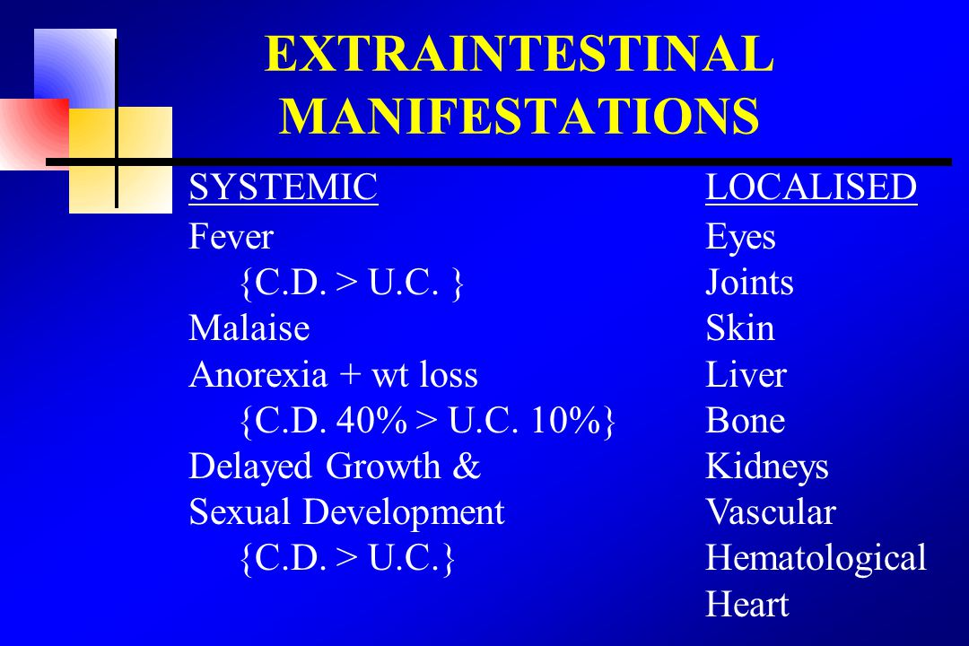 EXTRAINTESTINAL MANIFESTATIONS SYSTEMICLOCALISED Fever Eyes {C.D. > U.C. } Joints MalaiseSkin Anorexia + wt lossLiver {C.D. 40% > U.C. 10%}Bone Delaye