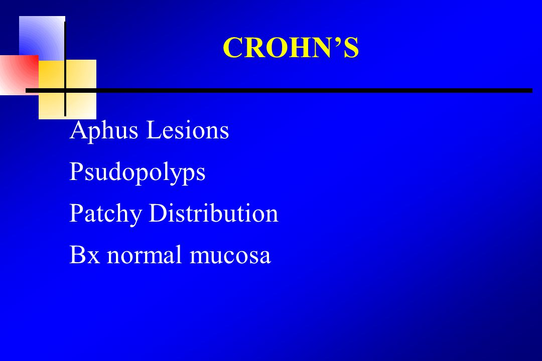 CROHN'S Aphus Lesions Psudopolyps Patchy Distribution Bx normal mucosa