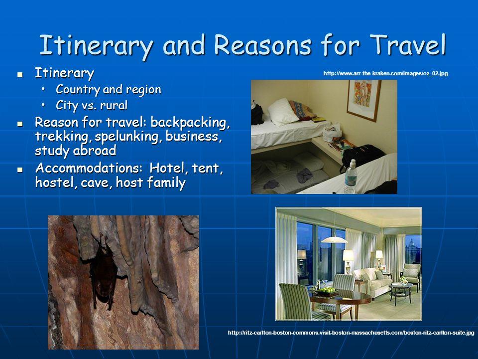 Travel Clinic Consultation Itinerary Itinerary Reason for travel Reason for travel Accommodations Accommodations Duration of travel Duration of travel