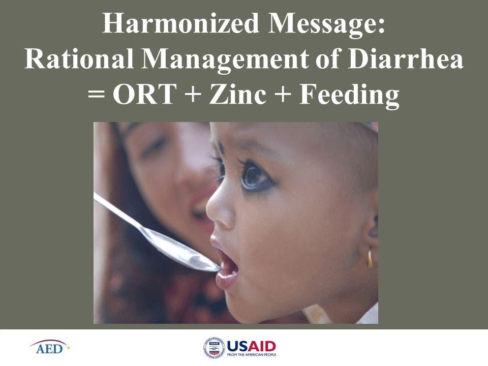 10 Harmonized Message: Rational Management of Diarrhea = ORT + Zinc + Feeding