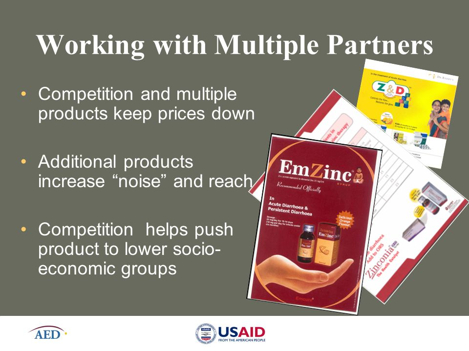 "12 Working with Multiple Partners Competition and multiple products keep prices down Additional products increase ""noise"" and reach Competition helps"