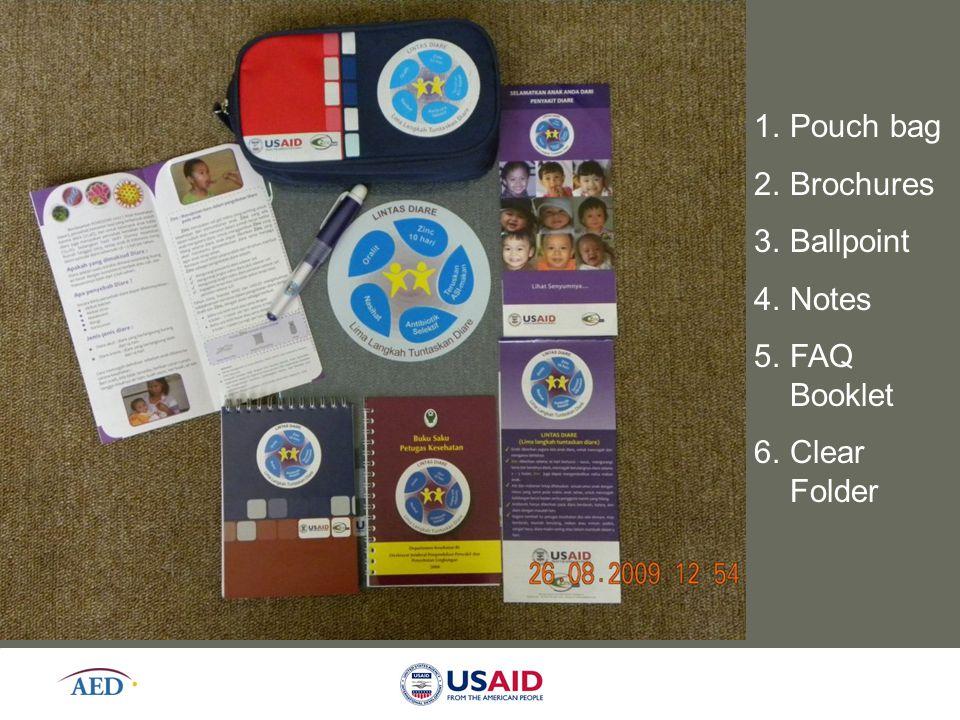 1.Pouch bag 2.Brochures 3.Ballpoint 4.Notes 5.FAQ Booklet 6.Clear Folder
