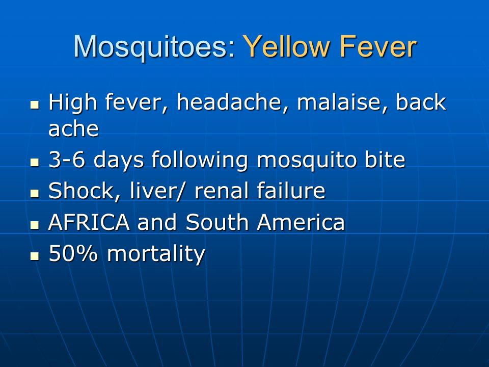 Mosquitoes: Yellow Fever High fever, headache, malaise, back ache High fever, headache, malaise, back ache 3-6 days following mosquito bite 3-6 days following mosquito bite Shock, liver/ renal failure Shock, liver/ renal failure AFRICA and South America AFRICA and South America 50% mortality 50% mortality