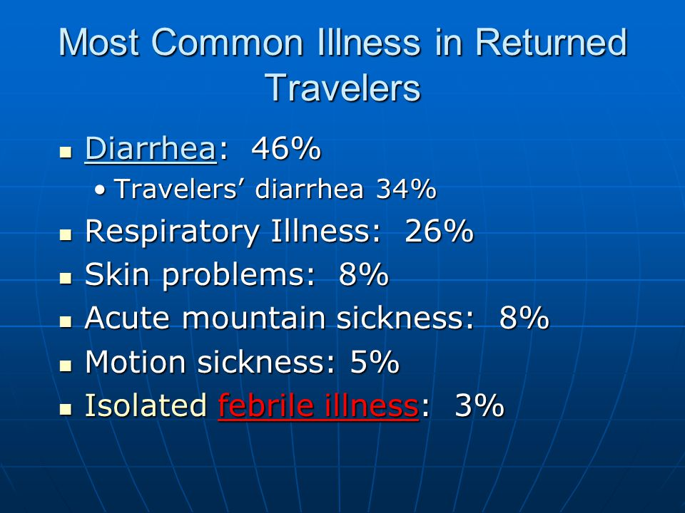 Most Common Illness in Returned Travelers Diarrhea: 46% Diarrhea: 46% Travelers' diarrhea 34%Travelers' diarrhea 34% Respiratory Illness: 26% Respiratory Illness: 26% Skin problems: 8% Skin problems: 8% Acute mountain sickness: 8% Acute mountain sickness: 8% Motion sickness: 5% Motion sickness: 5% Isolated febrile illness: 3% Isolated febrile illness: 3%