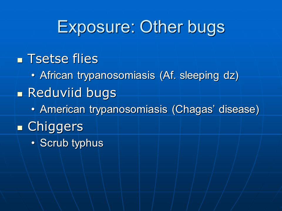 Exposure: Other bugs Tsetse flies Tsetse flies African trypanosomiasis (Af.