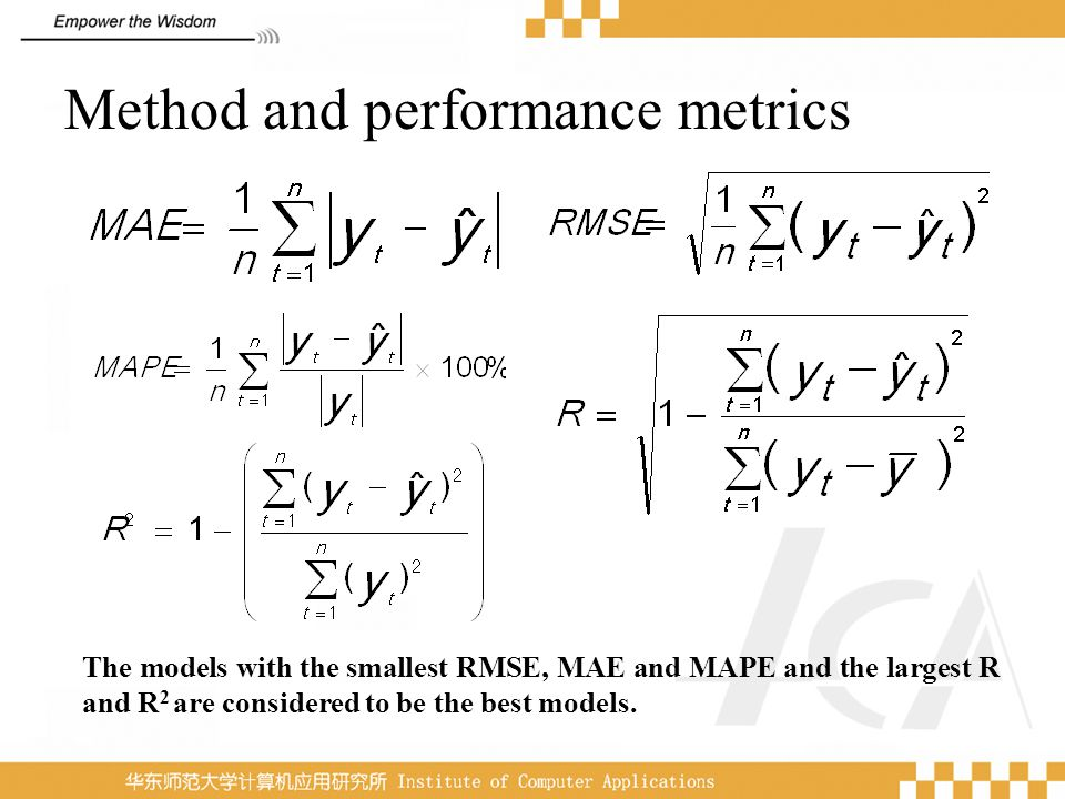 Method and performance metrics The models with the smallest RMSE, MAE and MAPE and the largest R and R 2 are considered to be the best models.