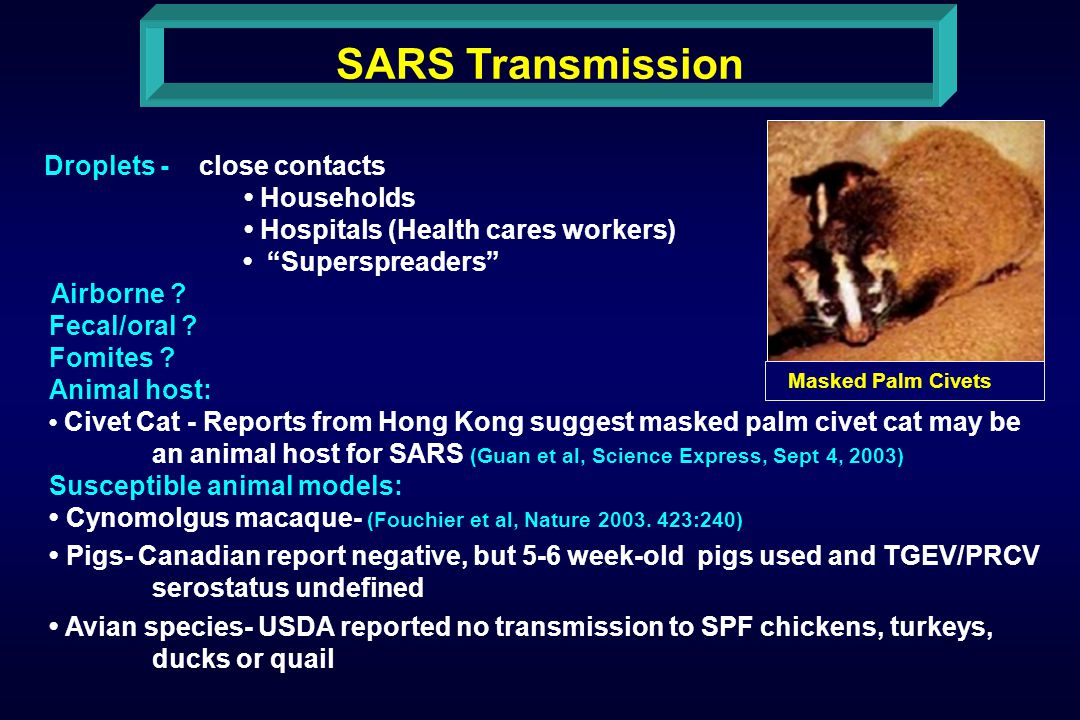 SARS Transmission Droplets - close contacts Households Hospitals (Health cares workers) Superspreaders Airborne .