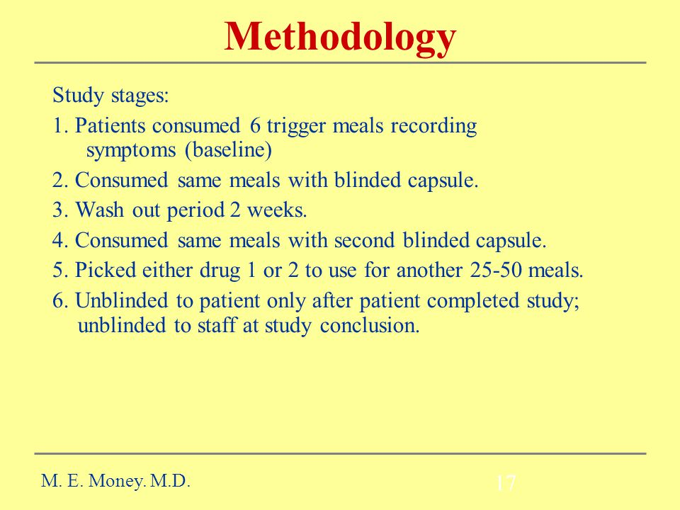 17 Methodology Study stages: 1.Patients consumed 6 trigger meals recording symptoms (baseline) 2.