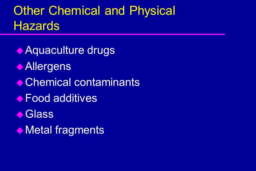 Other Chemical and Physical Hazards u Aquaculture drugs u Allergens u Chemical contaminants u Food additives u Glass u Metal fragments
