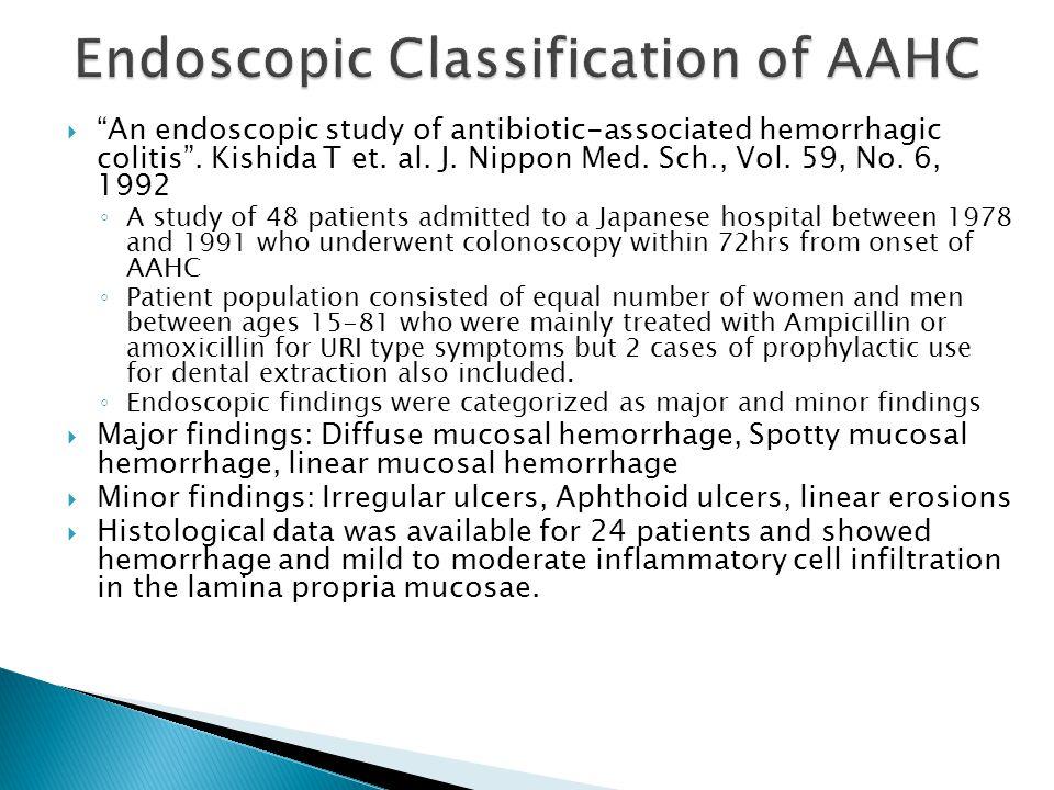  An endoscopic study of antibiotic-associated hemorrhagic colitis .