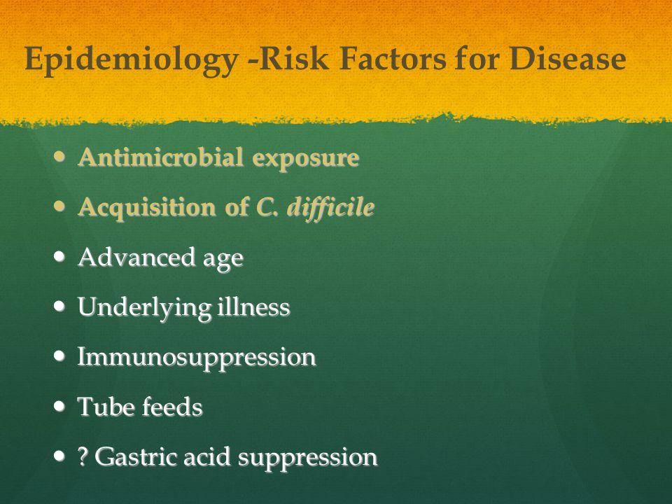 Epidemiology -Risk Factors for Disease Antimicrobial exposure Antimicrobial exposure Acquisition of C. difficile Acquisition of C. difficile Advanced
