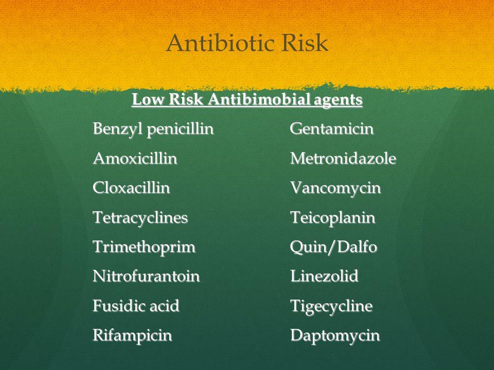Antibiotic Risk Low Risk Antibimobial agents Benzyl penicillinGentamicin AmoxicillinMetronidazole CloxacillinVancomycin TetracyclinesTeicoplanin Trime