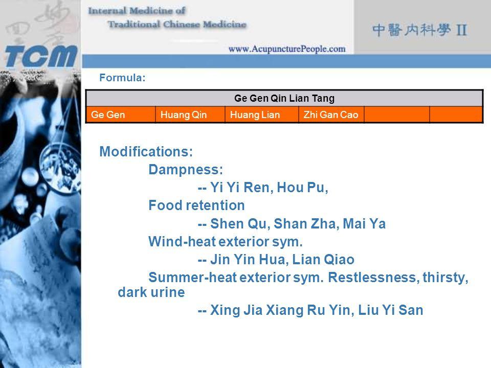 Formula: Modifications: Dampness: -- Yi Yi Ren, Hou Pu, Food retention -- Shen Qu, Shan Zha, Mai Ya Wind-heat exterior sym. -- Jin Yin Hua, Lian Qiao