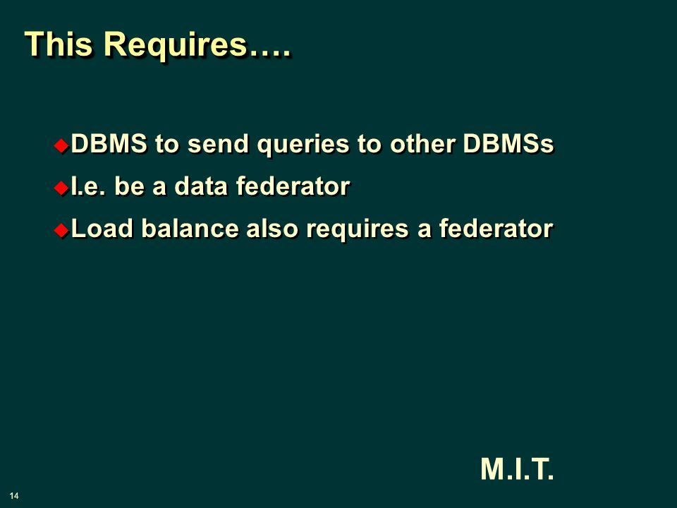 14 M.I.T. This Requires….  DBMS to send queries to other DBMSs  I.e.