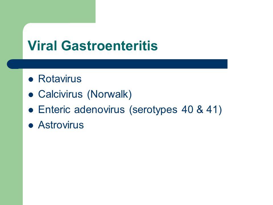 Viral Gastroenteritis Rotavirus Calcivirus (Norwalk) Enteric adenovirus (serotypes 40 & 41) Astrovirus