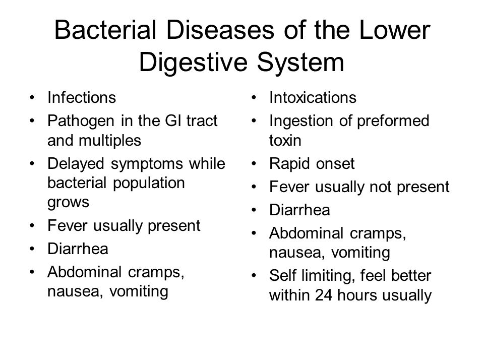 Bacterial Diseases of the Lower Digestive System Infections Pathogen in the GI tract and multiples Delayed symptoms while bacterial population grows F