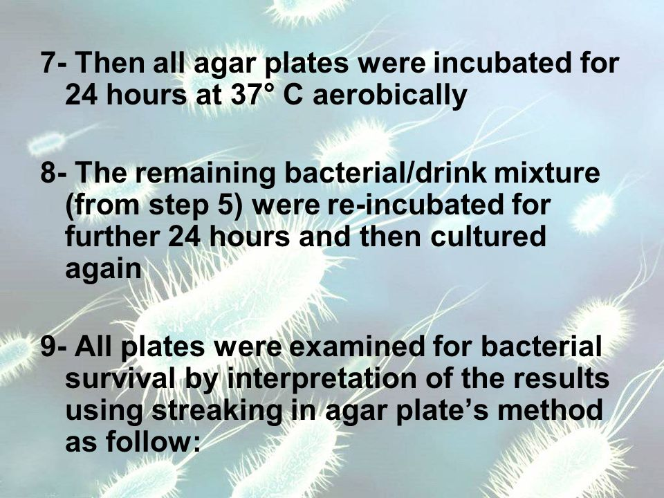 7- Then all agar plates were incubated for 24 hours at 37° C aerobically 8- The remaining bacterial/drink mixture (from step 5) were re-incubated for further 24 hours and then cultured again 9- All plates were examined for bacterial survival by interpretation of the results using streaking in agar plate's method as follow: