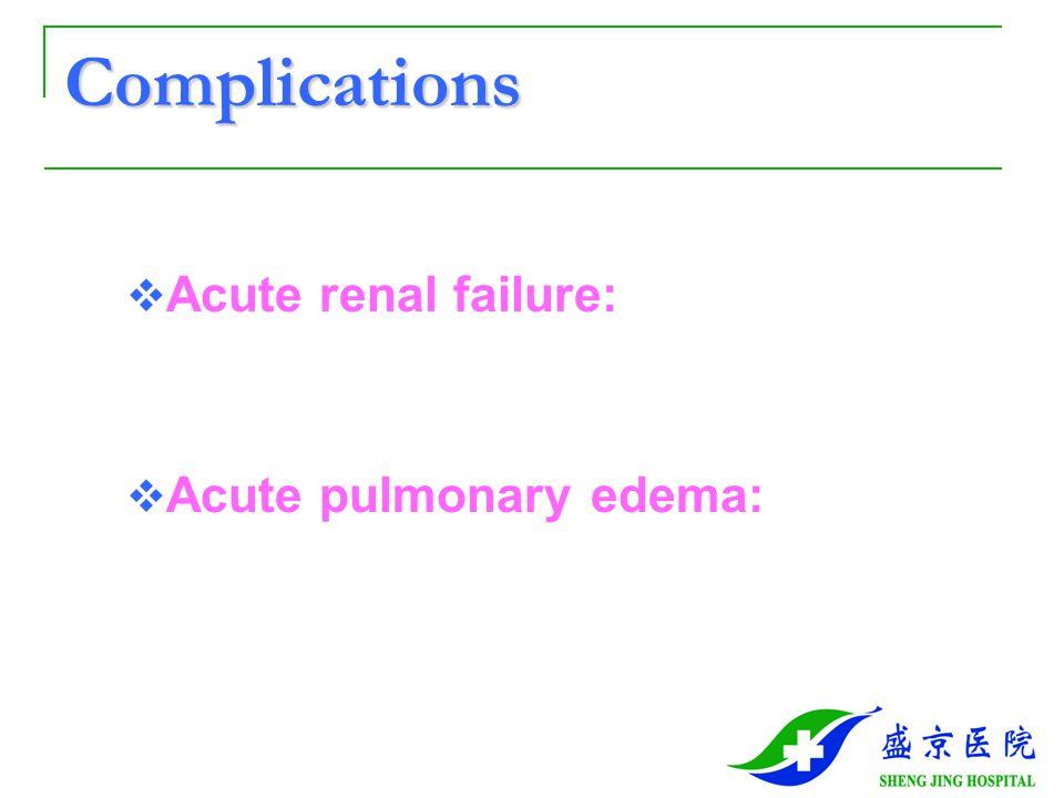 Complications  Acute renal failure:  Acute pulmonary edema: