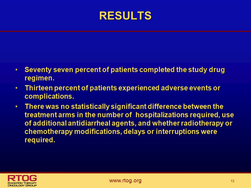 www.rtog.org 13 RESULTS Seventy seven percent of patients completed the study drug regimen.Seventy seven percent of patients completed the study drug regimen.