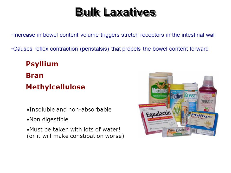 Bulk Laxatives Psyllium Bran Methylcellulose Insoluble and non-absorbable Non digestible Must be taken with lots of water.